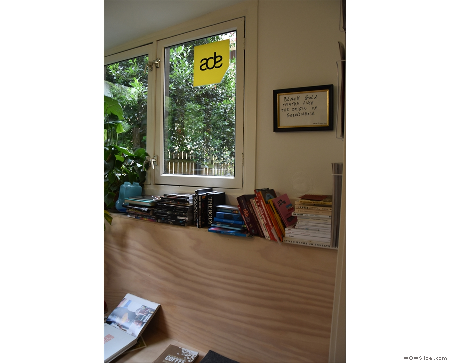 It's a lovely little shop, with lots of neat features, such as shelves of books in the nook.