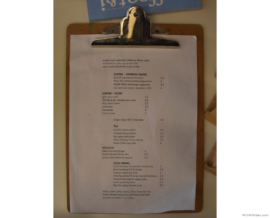 ... while the drinks menu is available throughout the shop.