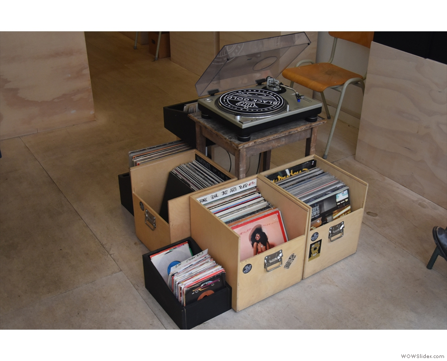 ... and a turntable where you can try them.