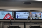 I'm only going one stop to Ebisu. As well as useful information, there are adverts...
