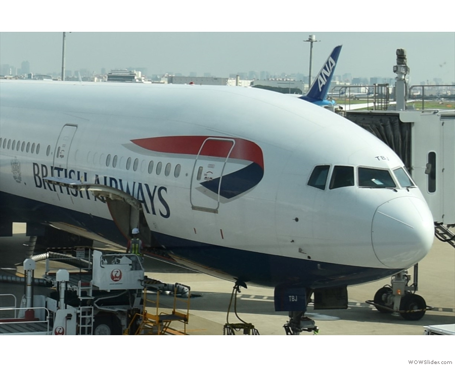 The view from outside. You can see my two windows above the B & R of British Airways.