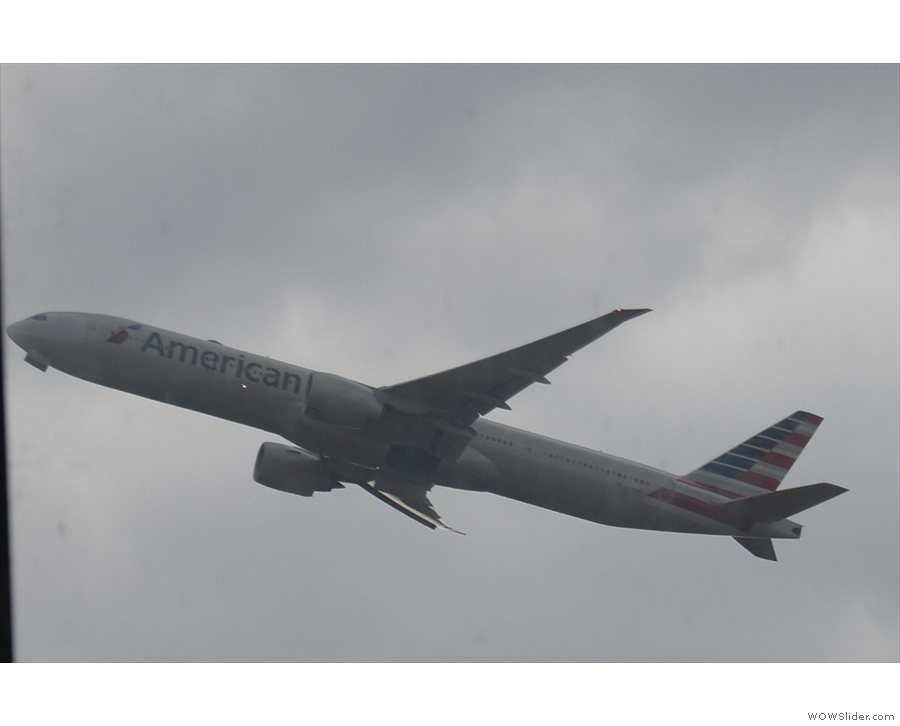 As well as the British Airways Boeing 747, I saw an American Airlines 777-300 (I think).