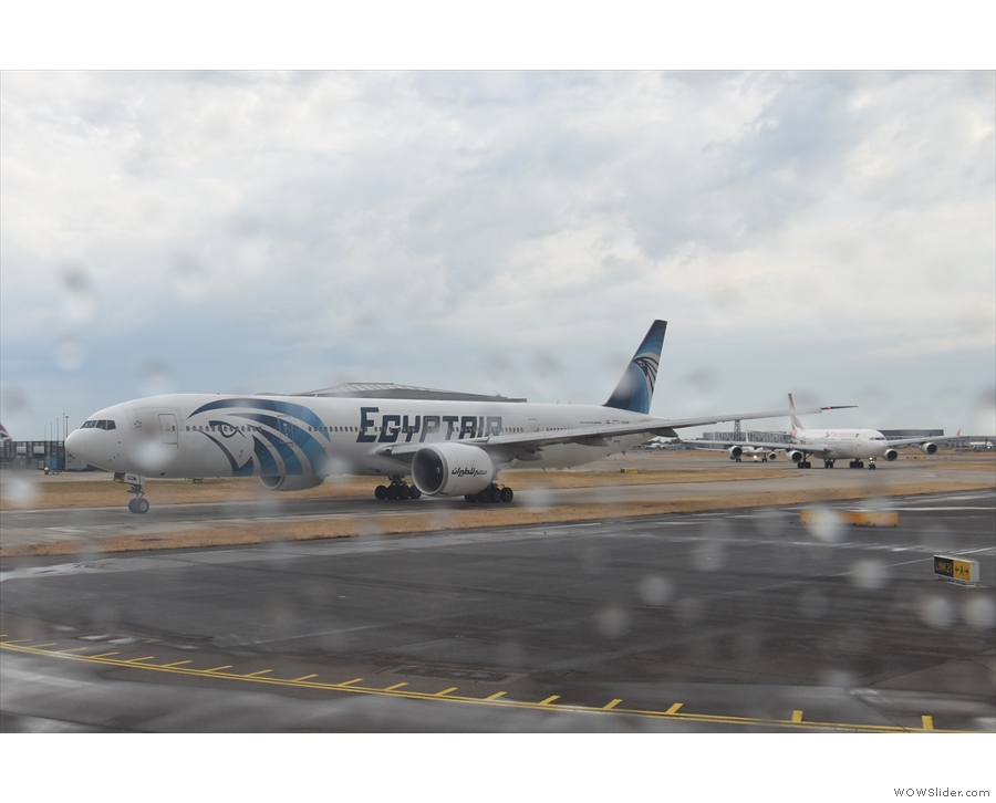 ... who wants to take off, including this Egyptair Boeing 777-300...