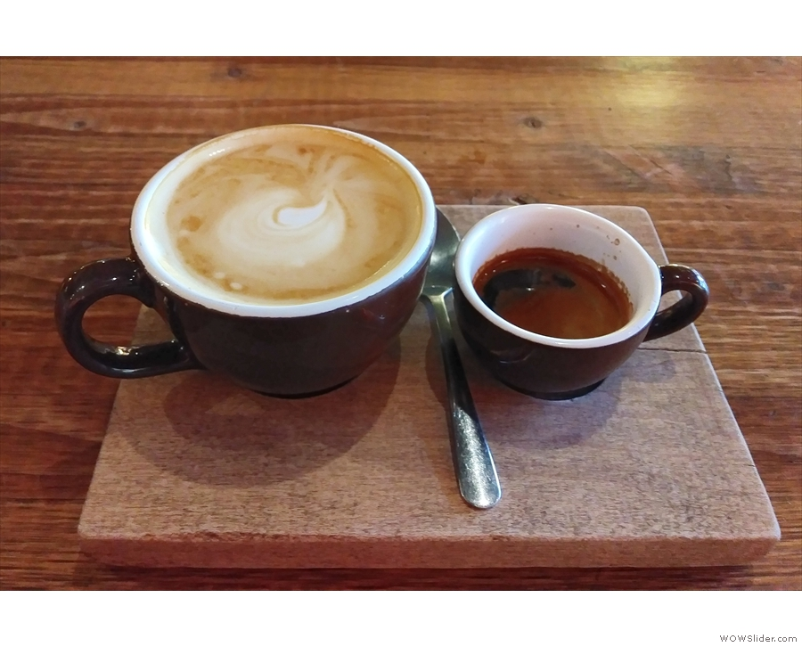 ... specifically the espresso set, a single-shot espresso, plus an espresso with milk.