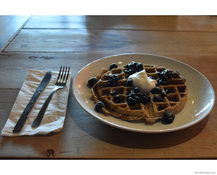 I was there for breakfast, selecting the oat-flour waffle from the excellent menu.