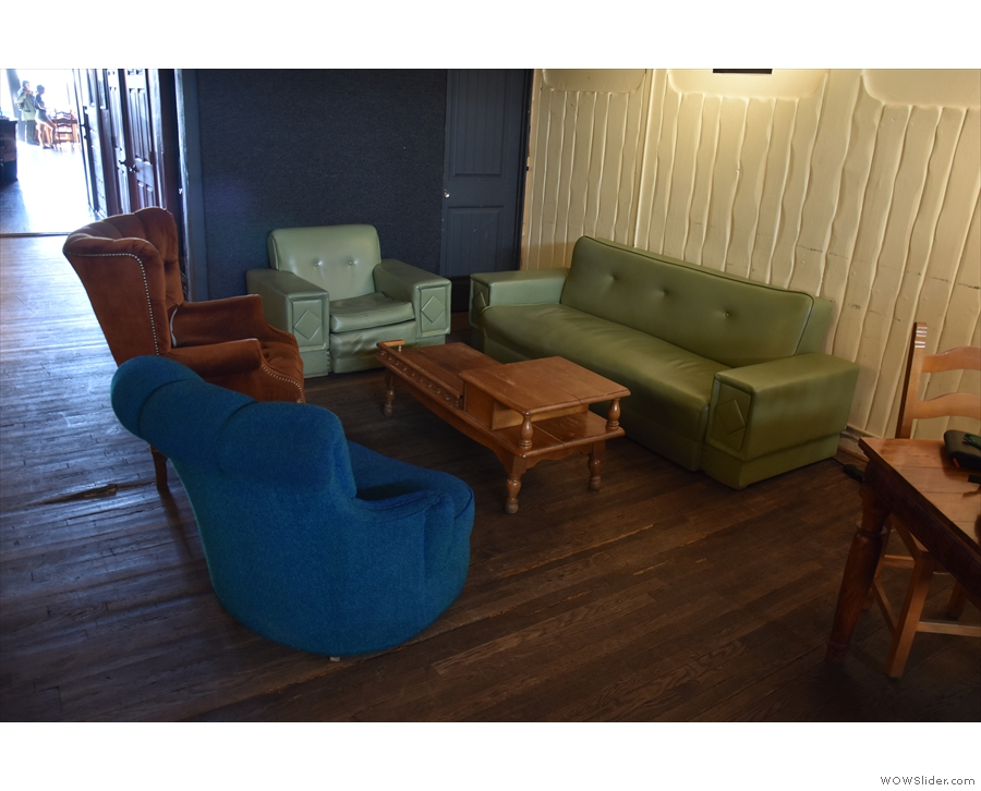 ... and for the rest of the time as additional seating, including this sofa and comfy chairs.