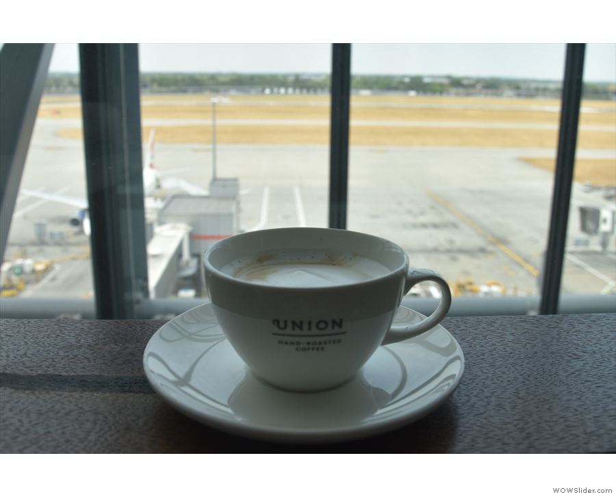 My cappuccino, enjoying the views from Heathrow Terminal 5's north lounge.