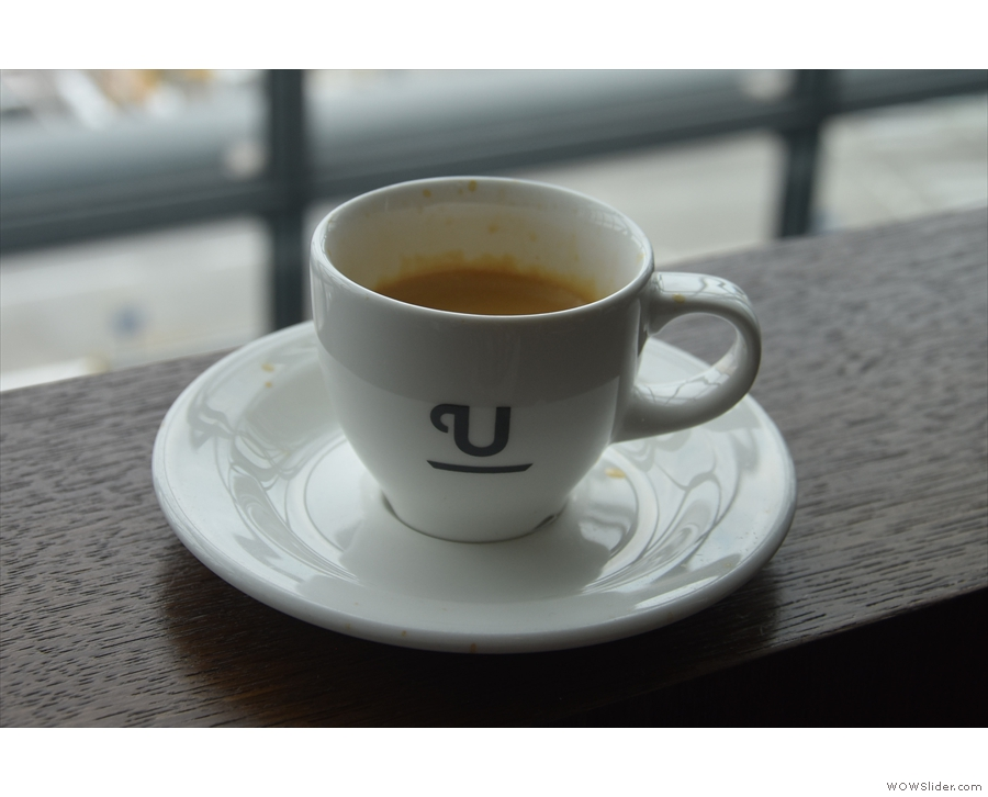 My espresso, on the window-bar, overlooking the gates...