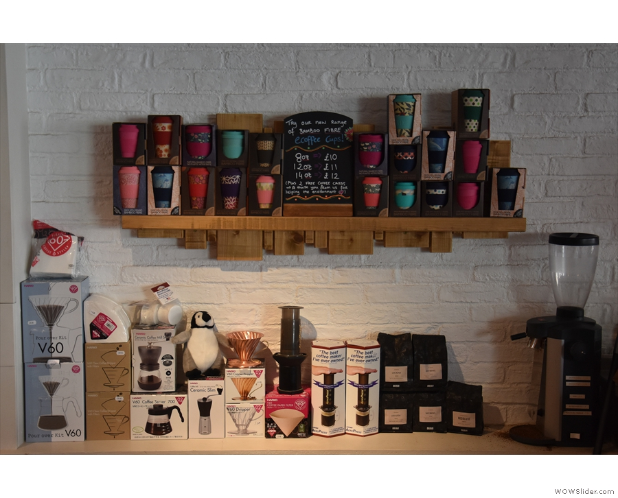 ... while there's also a small selection of reusable cups, coffee making kit & retail bags.