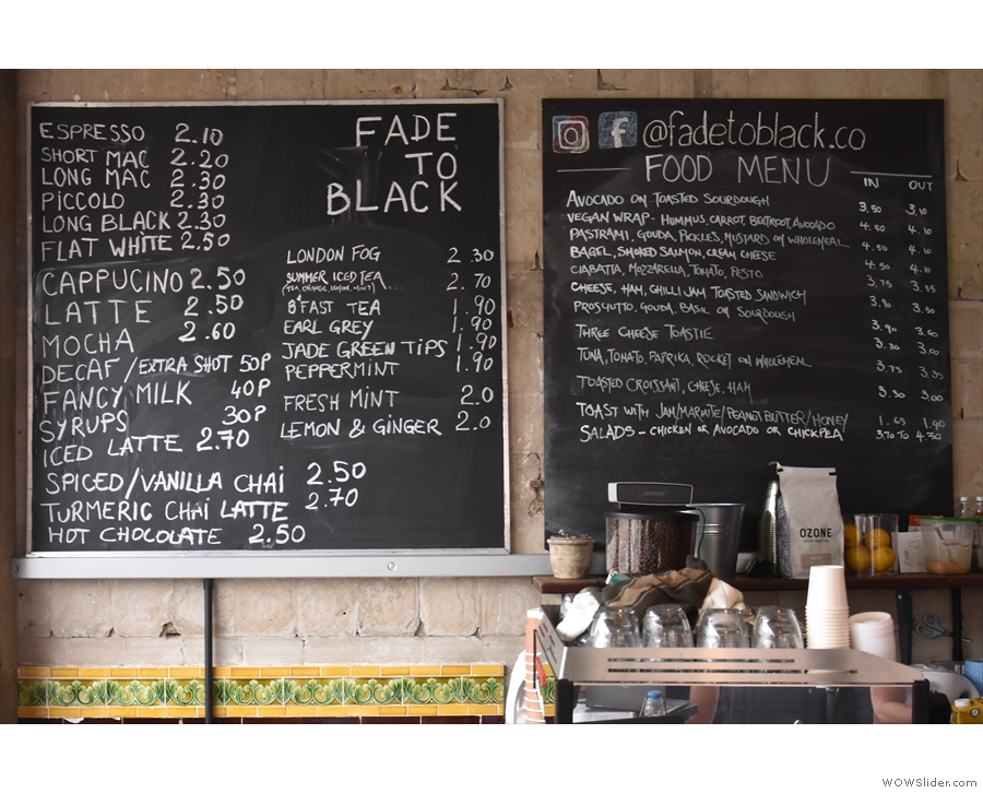 ... while there are two menu boards off to the left.