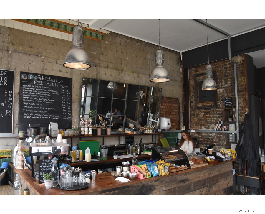 So, to business. The large counter is on the left, with the espresso machine up front.