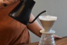 ... with pauses between the pours to allow the coffee to brew.