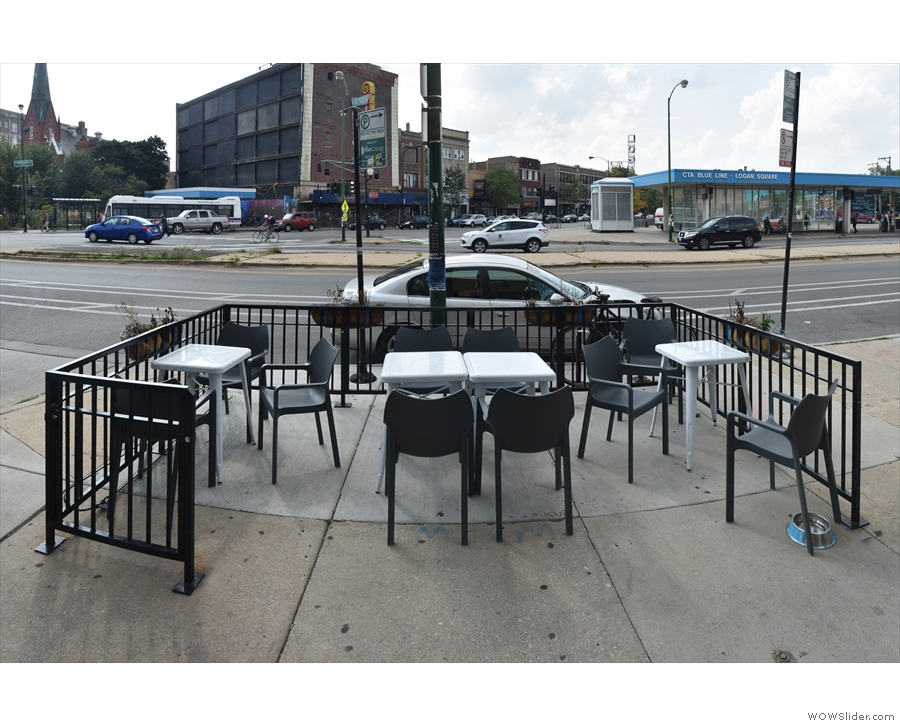 There's space for ten people, depending on how you arrange the tables/chairs.