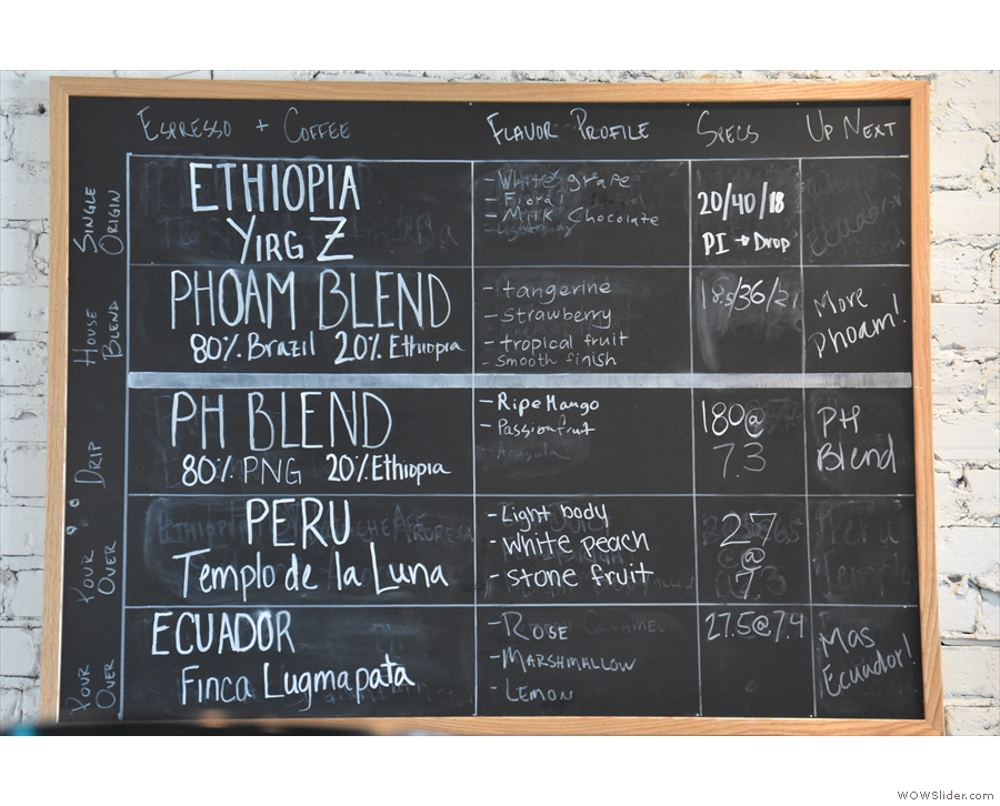 The coffee choices are on the wall behind the pour-over section.