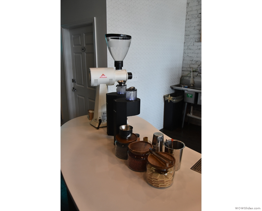 ... while finally, at the far end, is the pour-over section, with its Marco SP9s & EK-43.
