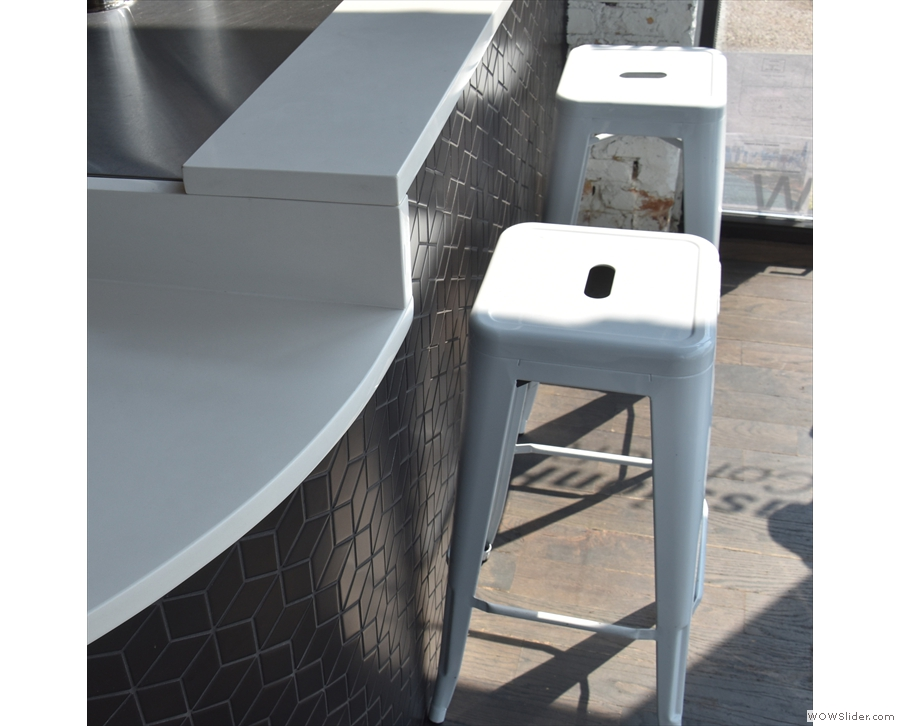 There are also two bar stools down here at the end of the counter.