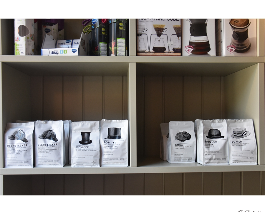 ... while the bottom shelves are the preserve of the coffee itself.