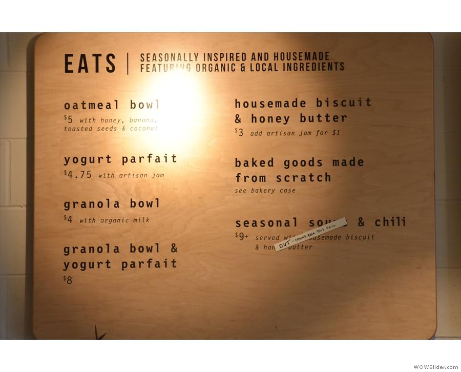 ... as well as the food menu.