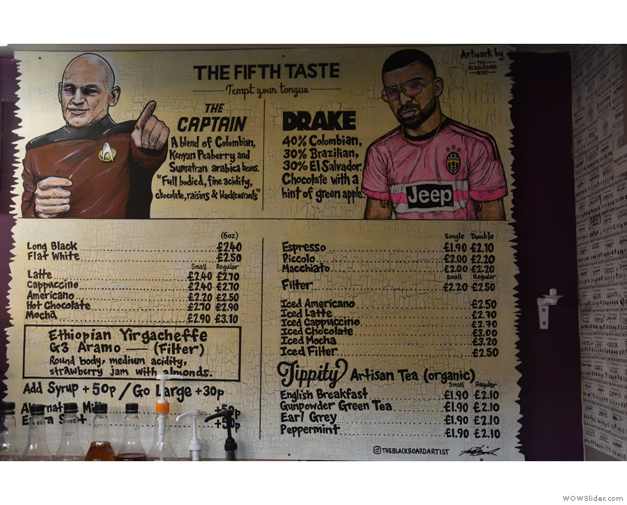 ... and the other wall having a lovely mural/menu (Drake was the previous espresso blend).