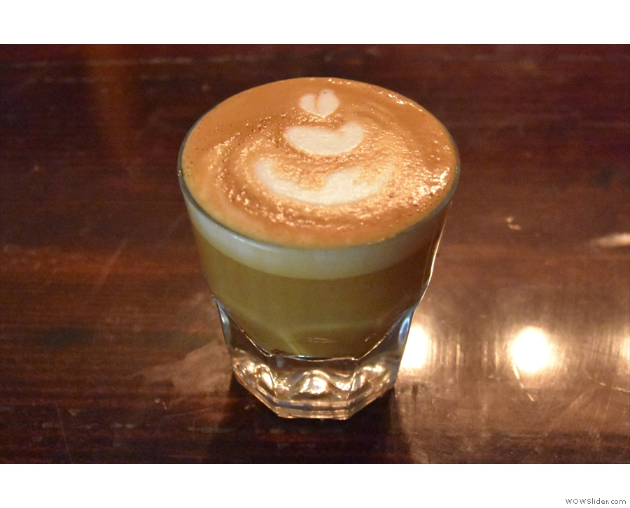 I started off with a cortado, made with the Storyteller blend. After that...