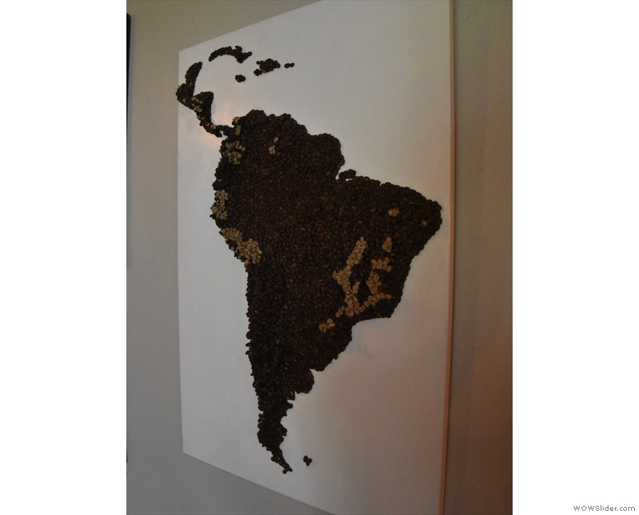 ... relief map of South America. Made of beans, the green ones mark coffee growing areas.