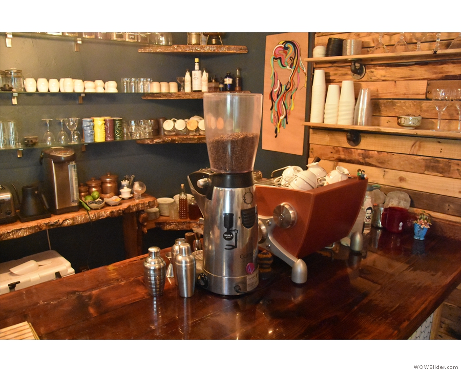 At the far end is the single-group Slayer espresso machine and its grinder.