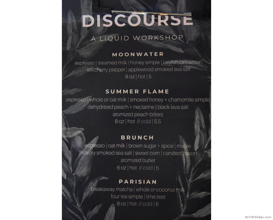 ... with the front page dedicated to Discourse's signature drinks...