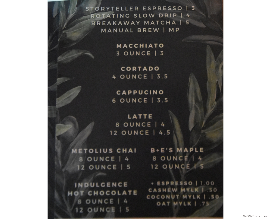 ... while the fourth page has a fairly standard coffee menu.