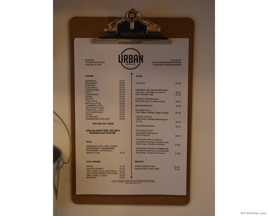 ... a comprehensive menu. However, for ease of reference, there's another menu...