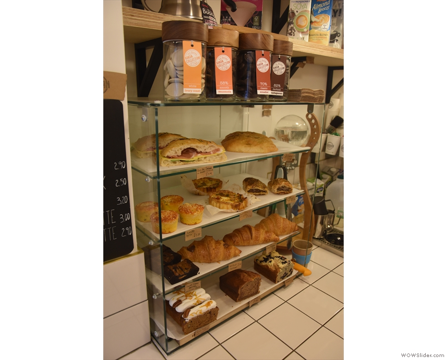 ... where you'll also find a display case with the cakes & sandwiches, plus the hot chocolate.