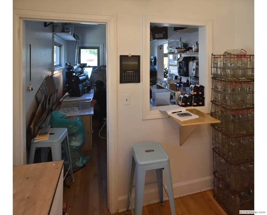 The roastery is at the front, where there's a single-person bar by another hatch.