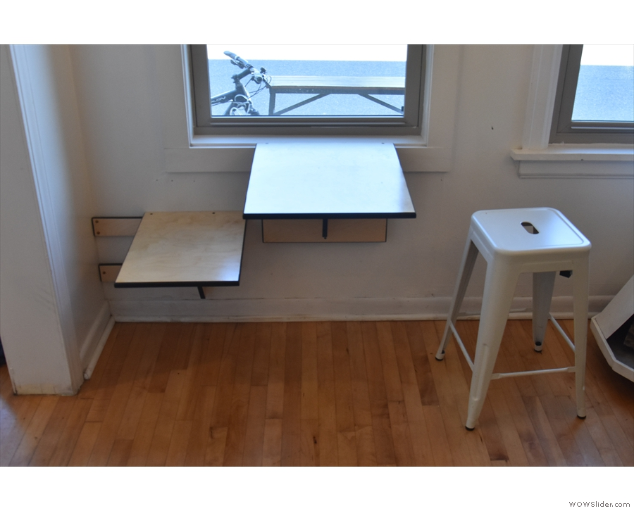 The table at the front, a fold-out affair with a fold-out chair as well.