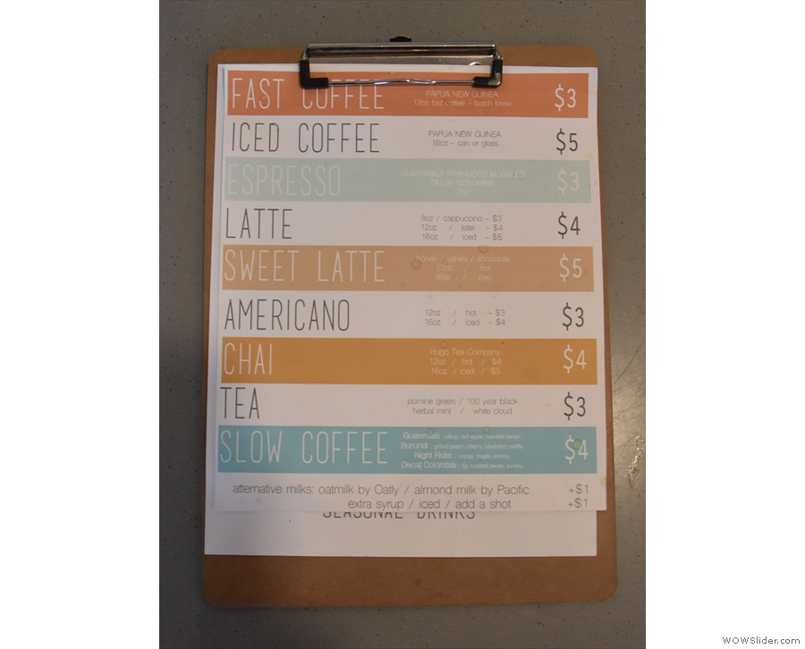 There's a more in-depth, paper menu on the counter-top...