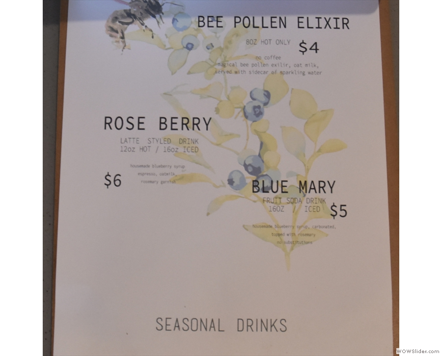 .. with the seasonal drinks on the second page.