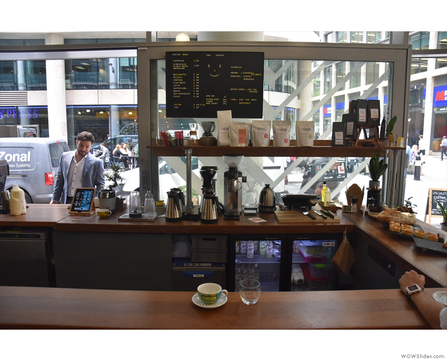 The view sitting at the counter, where you can watch the pour-over and batch-brew...