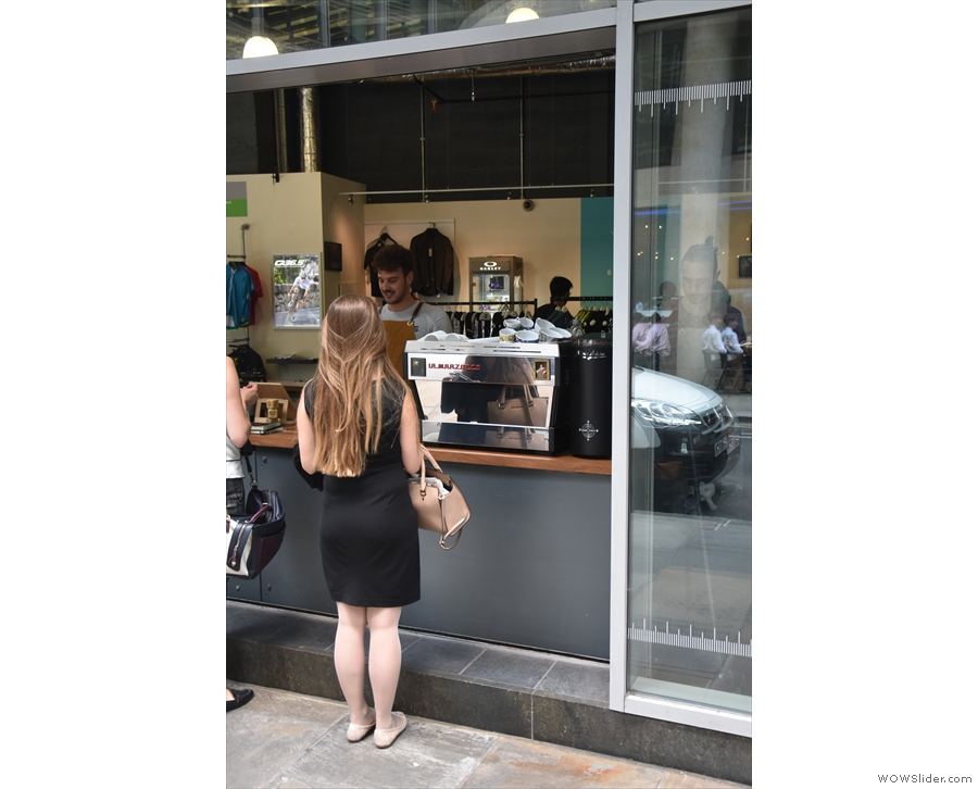 Either way, you'll end up at the this large hatch, dispensing said speciality coffee.