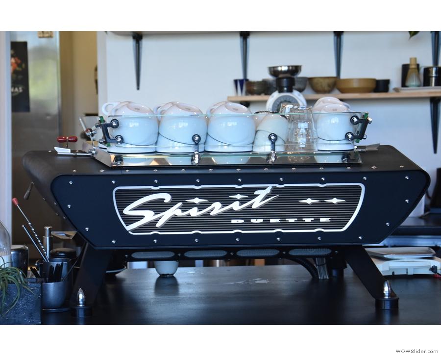Pride of place goes to the Kees van der Westen Spirit espresso machine which is...
