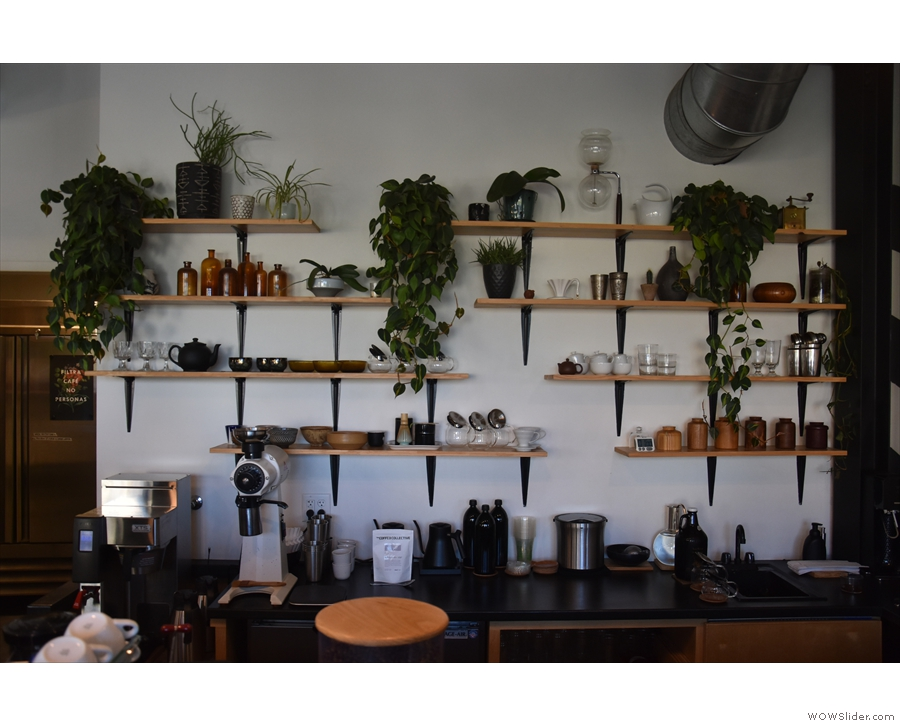 The back wall, behind the counter, is a work of art in itself, with its plants & various pots.