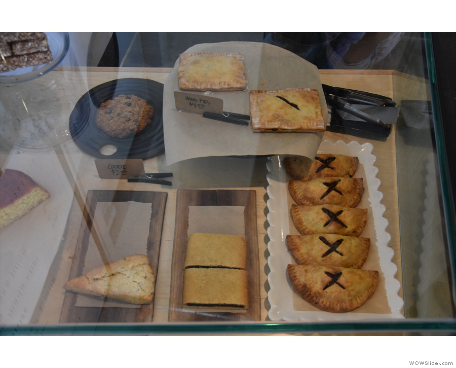 To business. There's a supply of cakes, pastries and pies, all baked on-site.