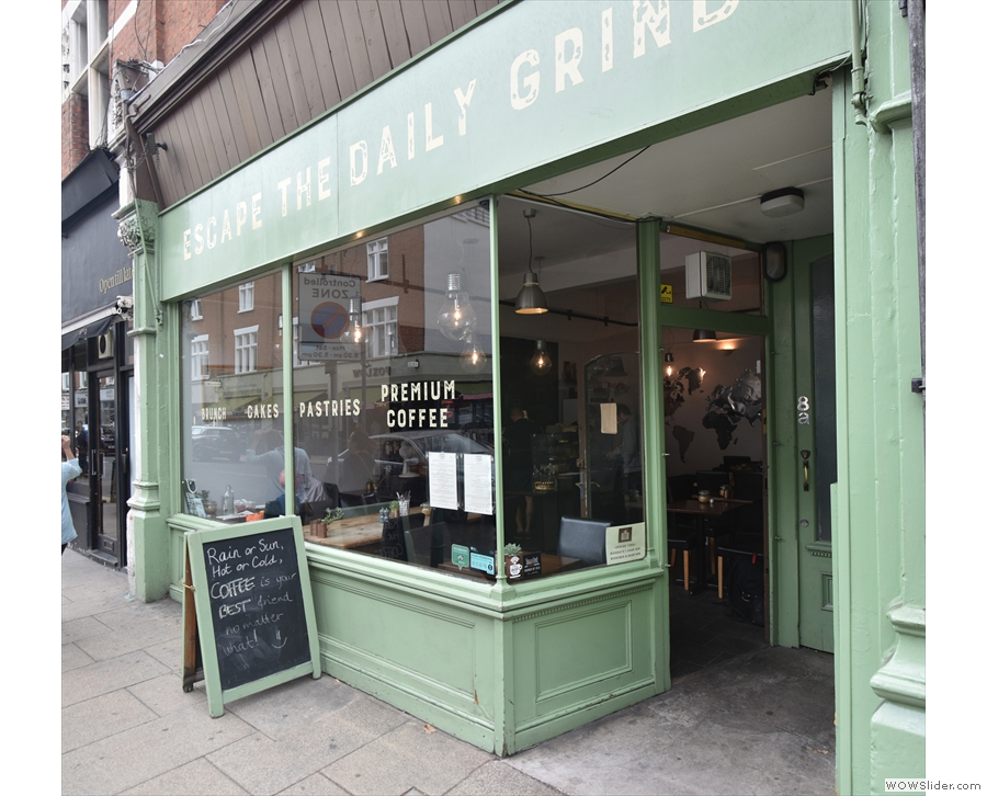 On Bedford Hill in Balham is the interesting facade of Escape the Daily Grind.