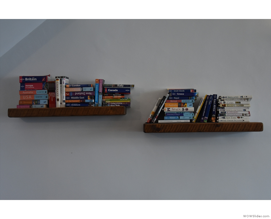 There's also a travel-themed (well, guidebook-themed) pair of book shelves.
