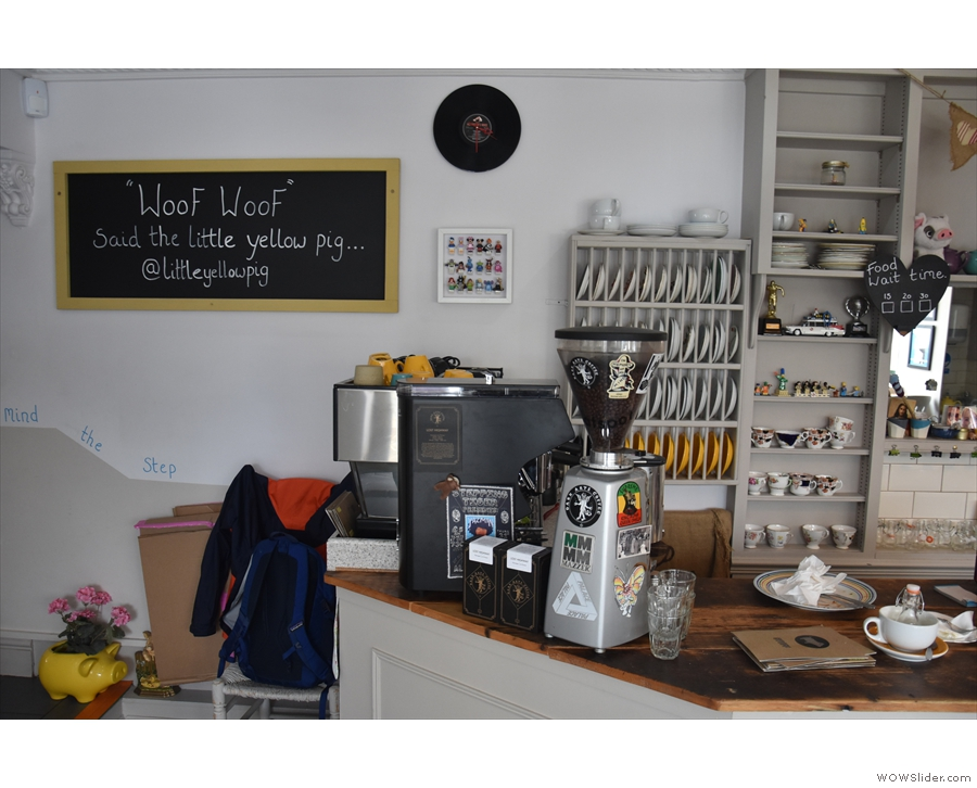 The coffee end of the operation is to the left of the counter.