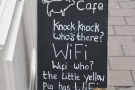 The A-board, with an interesting take on the knock-knock joke.