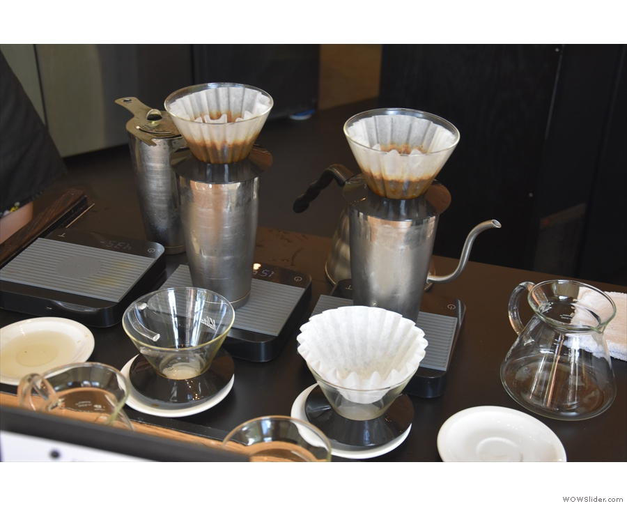 However, the staff still manually brew coffee with the Kalita Wave filters.