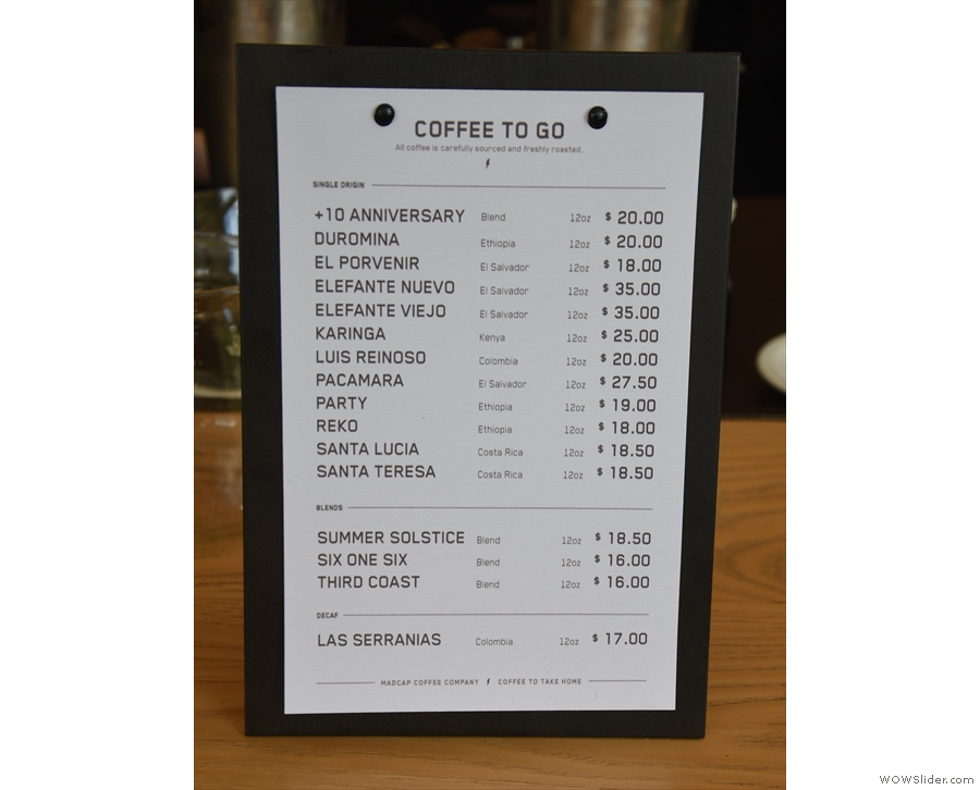 The price-list, with all 11 single-origins, four blends and a decaf.