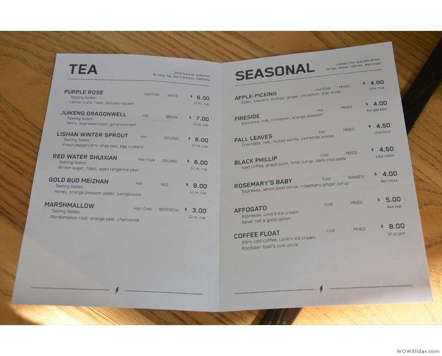 ... while here is the tea and seasonal drink menus.