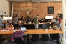 Finally, there's a long, communal table between the windows and the counter.