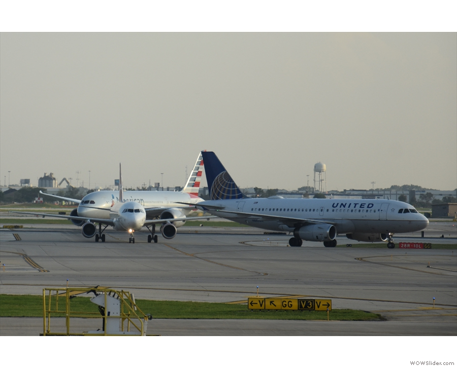 O'Hare is an incredibly busy airport, so there was a constant stream of planes coming...