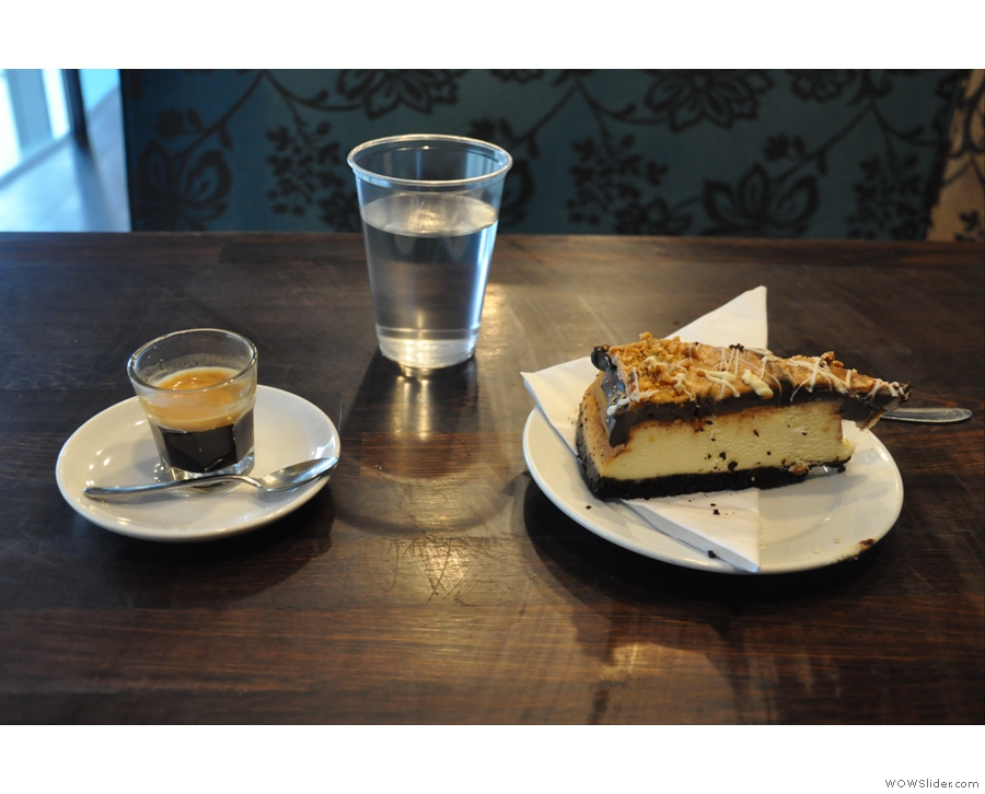 Coffee and cheesecake, quite literally to die for. Bea's of Bloomsbury's City of London outpost.
