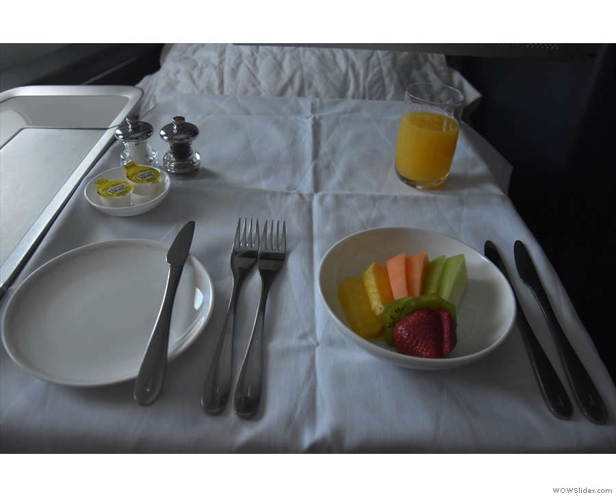 ... my table was laid for breakfast, using a proper table cloth! First course was fruit...